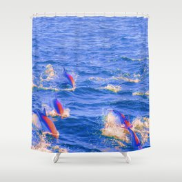 Pop Art Abstract Retro Colored Dolphin Swimming Ocean Beach Landscape Framed Lustre Wall Art Print Shower Curtain