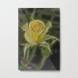 Yellow Fractalius Rose Metal Print