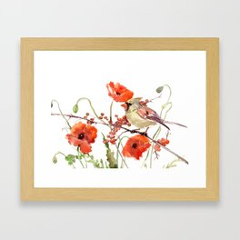 Cardinal Bird and Poppies, Poppy Flowers Framed Art Print