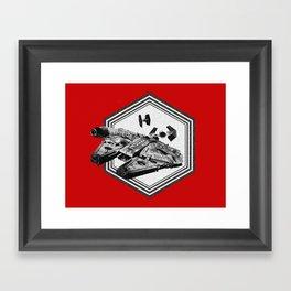 Millennium Falcon TIE Fighter Dotwork - Pointillism Art Framed Art Print