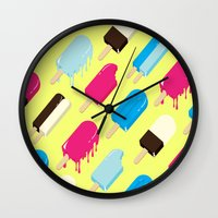 popsicle Wall Clocks featuring Popsicle by Sher Mavro ART