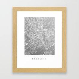 Silver Belfast map Framed Art Print