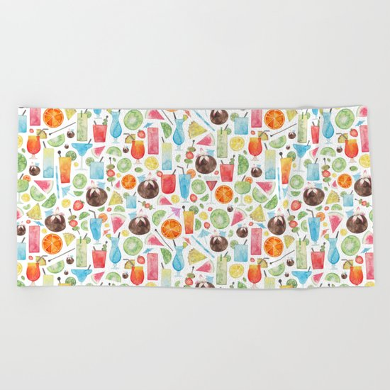 Summer Fruit Cocktail Beach Towel