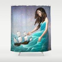 destiny Shower Curtains featuring Destiny by Christian Schloe