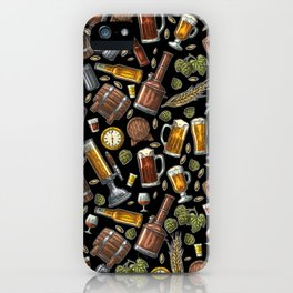 Beer Makes The World Go Round - Black Pattern iPhone Case