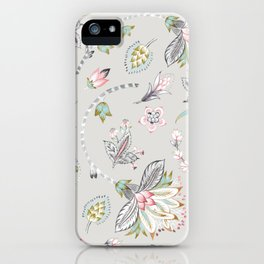 Hand-painted Chintz Pastel Flowers on Grey iPhone Case