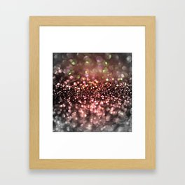 Copper gray and black shiny glitter print - Sparkle Luxury Backdrop Framed Art Print