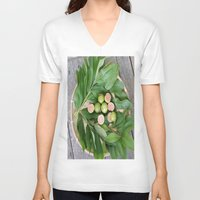 fruits V-neck T-shirts featuring FRUITS & LEAVES by Annie Koh