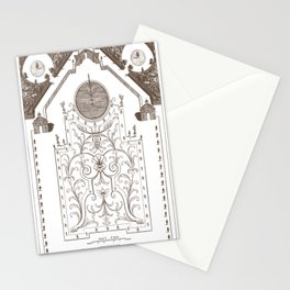 Antique French Garden Botanical Plan 2 In Sepia Stationery Cards