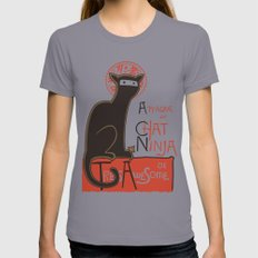 A French Ninja Cat (Le Chat Ninja) Slate Womens Fitted Tee MEDIUM