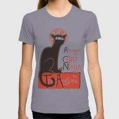 A French Ninja Cat (Le Chat Ninja) MEDIUM Womens Fitted Tee Slate