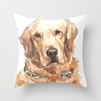 golden retriever Throw Pillows featuring Golden Retriever  by ali_grace_gal