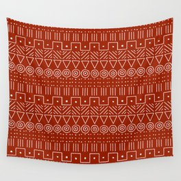 Mudcloth Style 1 in White on Red Wall Tapestry