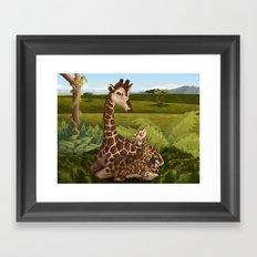 Giraffes, A Mother's love Framed Art Print