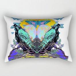 SURREAL BIRDS, BLUE BUTTERFLIES & GOLDEN MOON Rectangular Pillow
