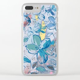 Drawing flowers - abstract background Clear iPhone Case