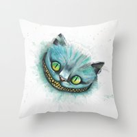 cheshire cat Throw Pillows featuring Cheshire Cat by digiartpicture