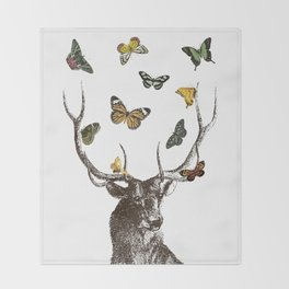 The Stag and Butterflies Throw Blanket