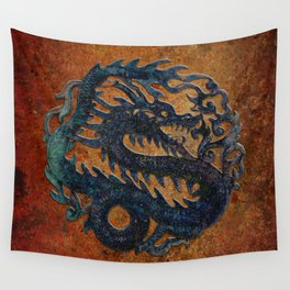 Blue Chinese Dragon on Stone Background Wall Tapestry