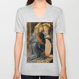 "Andrea del Verrocchio and Leonardo da Vinci ""Baptism of Christ"" - angels Unisex V-Neck"