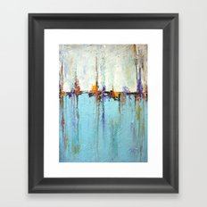 "Abstract White and Blue Painting – Textured Art – ""Sailing""  Framed Art Print"