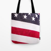 america Tote Bags featuring America by Mary Timman