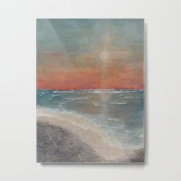 Sunset Blessings - Print of textured painting Metal Print