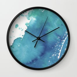 BLUE + GREEN WATERCOLOUR LAYER AND SPLATTER Wall Clock