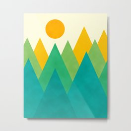 Modern Abstract Fresh Geometric Mountain Landscape with Rising Sun in Yellow, Green and Blue Colors, Retro Mountains Print Metal Print