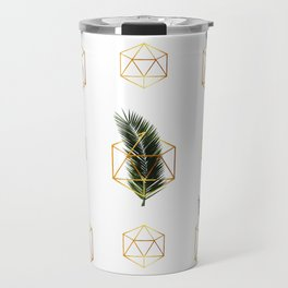 Tropical Palm Leaf Pattern - Gold Geometric Pattern 1 - Tropical Wall Art - Palm Leaf And Gold Travel Mug