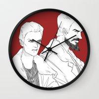 pacific rim Wall Clocks featuring Pacific Rim - Cherno Alpha by arttano