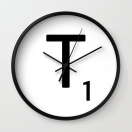 Letter T - Custom Scrabble Letter Tile Art - Scrabble T Initial Wall Clock