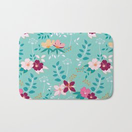 Exotic Flower Pattern Bath Mat