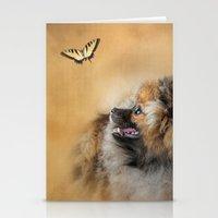 pomeranian Stationery Cards featuring Butterfly Dreams - Pomeranian by Jai Johnson