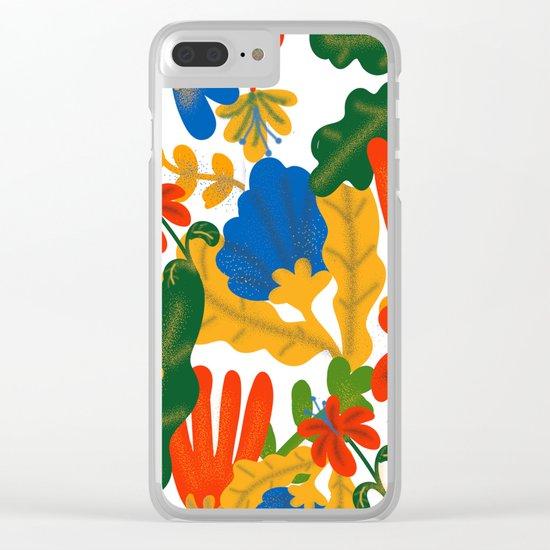 Tropical Flower Pattern II Clear iPhone Case