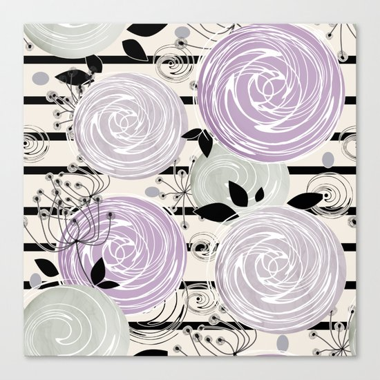Abstract floral pattern in gray , purple tones Canvas Print