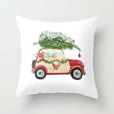 Vintage Christmas car with tree red Throw Pillow