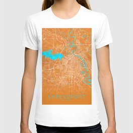 Shreveport, LA, USA, Gold, Blue, City, Map T-shirt