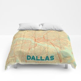 Dallas Map Retro Comforters