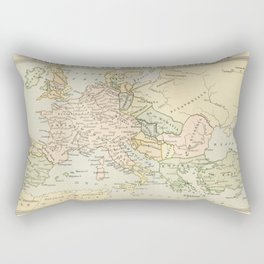 Old Map of Europe under the Empire of Charlemagne Rectangular Pillow