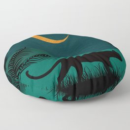 Jungle Cat in the Night Floor Pillow
