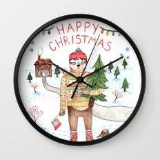 Sloth Christmas Wall Clock