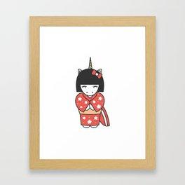 cute lovely cartoon unicorn geisha illustration Framed Art Print