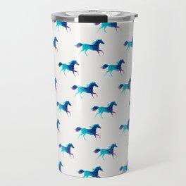 blue horse pattern Travel Mug