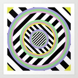 Circles, stripes and pastel colours Art Print