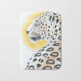 Leopard And The Sun Watercolor Ink Art Bath Mat