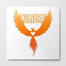 PHOENIX RISING orange with heart center Metal Print
