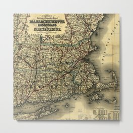 Vintage Map of Southern New England: Connecticut, Rhode Island, and Massachusetts Metal Print
