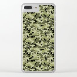 Military Camouflage Pattern - Green White Black Clear iPhone Case