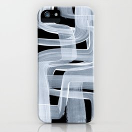 Ghostly Minimalist Abstract Painting Black And White Maze Brush Strokes iPhone Case